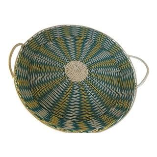 Turquoise & White Woven Basket Tray