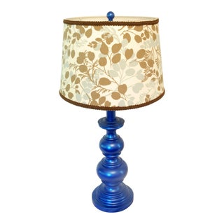 Metallic Blue Brass Lamp With Shade