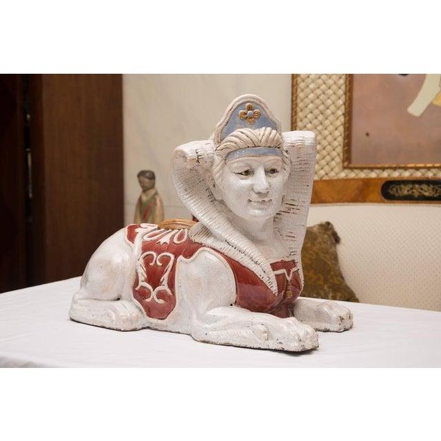Pair of Glazed Terra Cotta Sphinx Figures - Image 6 of 8