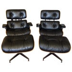 Image of Eames 670 Lounge Chairs & 671 Ottomans - a Pair