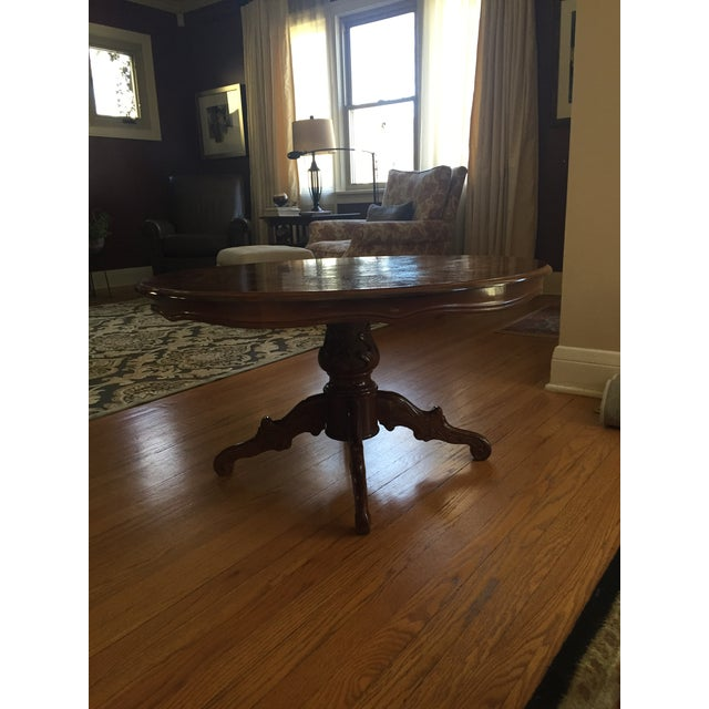 Inlaid Wood Round Coffee Table - Image 2 of 5
