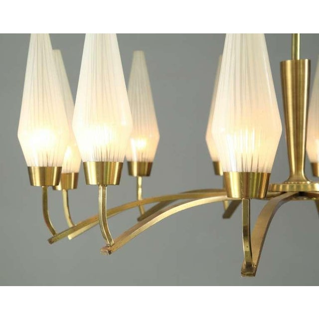 Image of Large Twelve-Arm Brass with Opaline Glass Chandelier, Italy, 1950s
