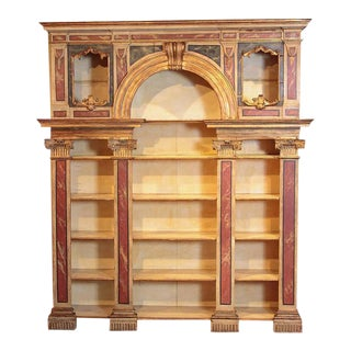 Early 19th Century Italian Neoclassical Faux Marble Painted Wood Open Bookcase