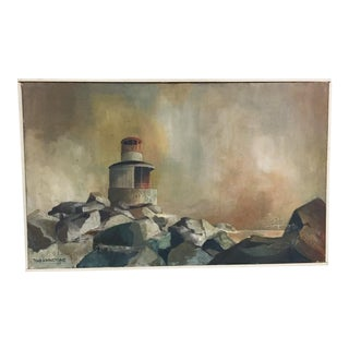 Signed, Mid-Century Framed Landscape Oil on Canvas, Lighthouse in Connecticut