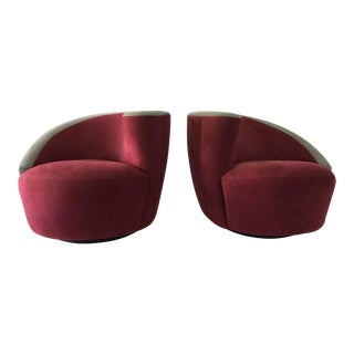Vladimir Kagan for Directional Nautilus Swivel Chairs, Pair