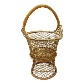 Vintage Woven Wicker Plant Stand