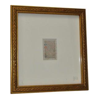 C.1400s Medieval Period Illuminated Manuscript