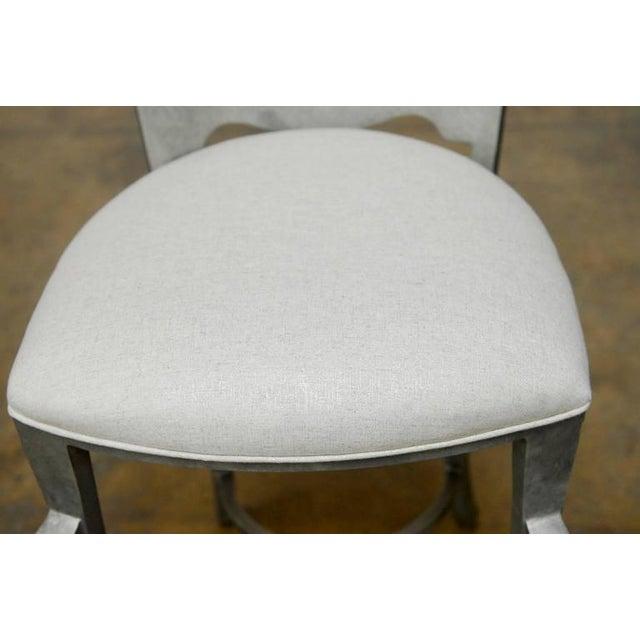 Modern Biedermeier Style Metal Barstools - Set of 3 - Image 9 of 10