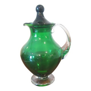 Mid-Century Modern Blenko Green Glass Pitcher