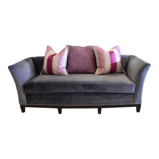 Transitional Gray Velvet Sofa