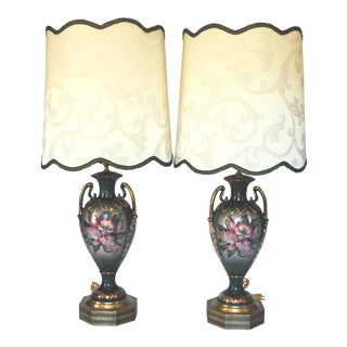Vintage Benrose Forest Green Urn Lamps - a Pair