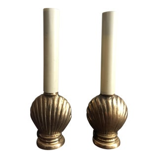 Mid-Century French Brass Seashell Lamps - A Pair