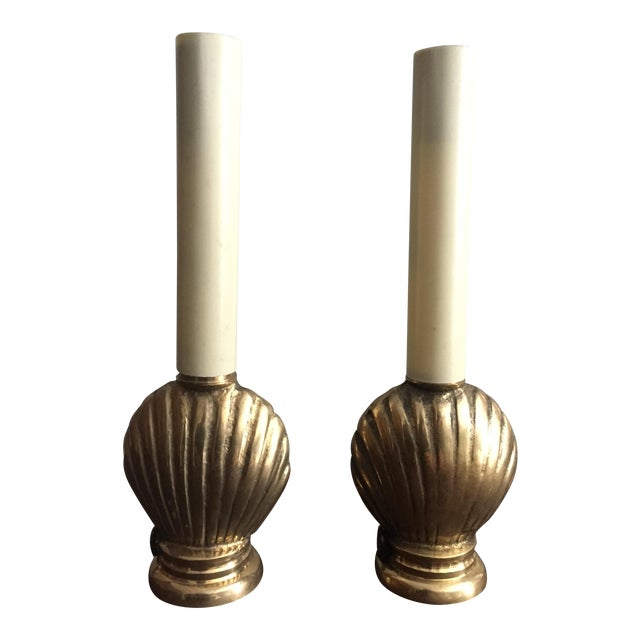 Image of Mid-Century French Brass Seashell Lamps - A Pair