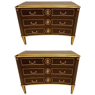 Russian Neoclassical Style Inverted Front Chests/Commodes - a Pair
