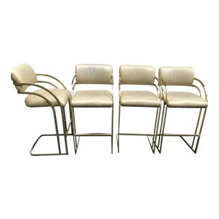 Brass Cantilever Stools Milo Baughman Hollywood Regency Style - Set of 4 (8 Available)