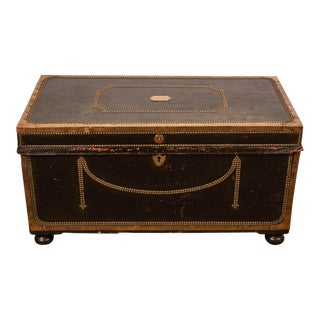 19th Century English Leather Trunk with Nail Head Trim