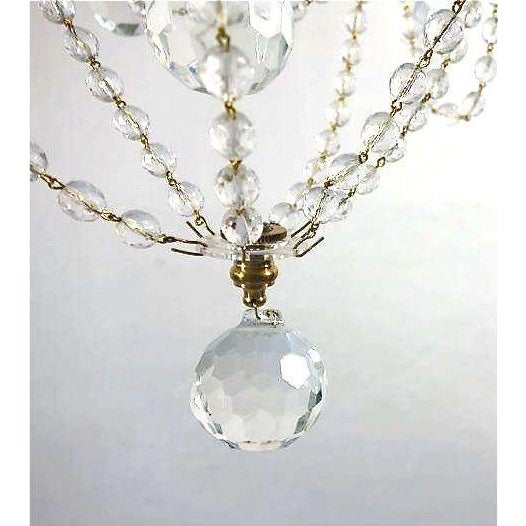 Brass & Draped Crystal Ceiling Fixture - Image 6 of 7