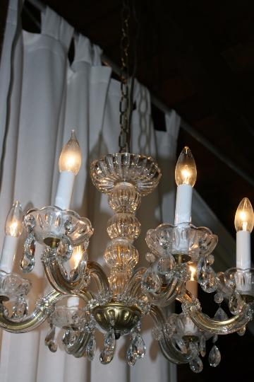 Elegant Vintage Crystal Prism Chandelier