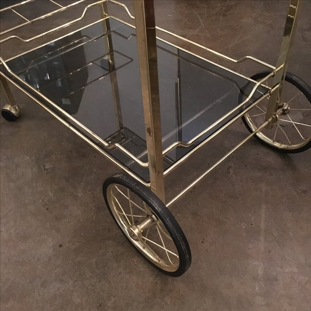 Brass with Smoke Glass Bar Cart - Image 6 of 7
