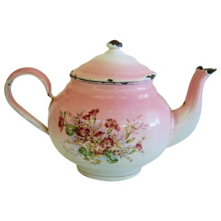 1930s French Enamelware Hand-Painted Teapot