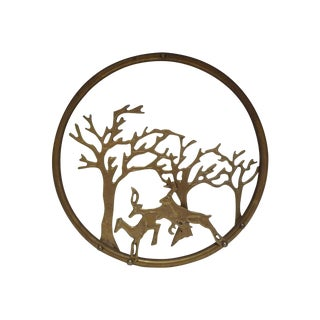 Vintage Brass Stag & Trees Wall Decor