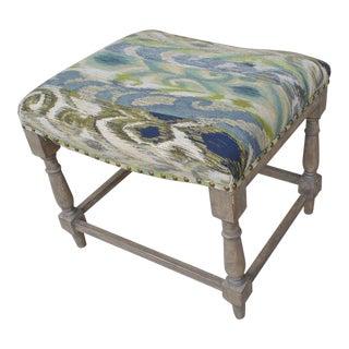Vintage Ikat Upholstery Ottoman