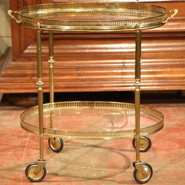 French Oval Brass Bar Cart on Wheels - Image 2 of 8