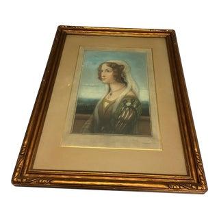 Vintage Renaissance Lady Framed Lithograph