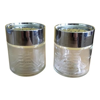 Pair of Vintage Etched Nautical Crystal Salt and Pepper Shakers