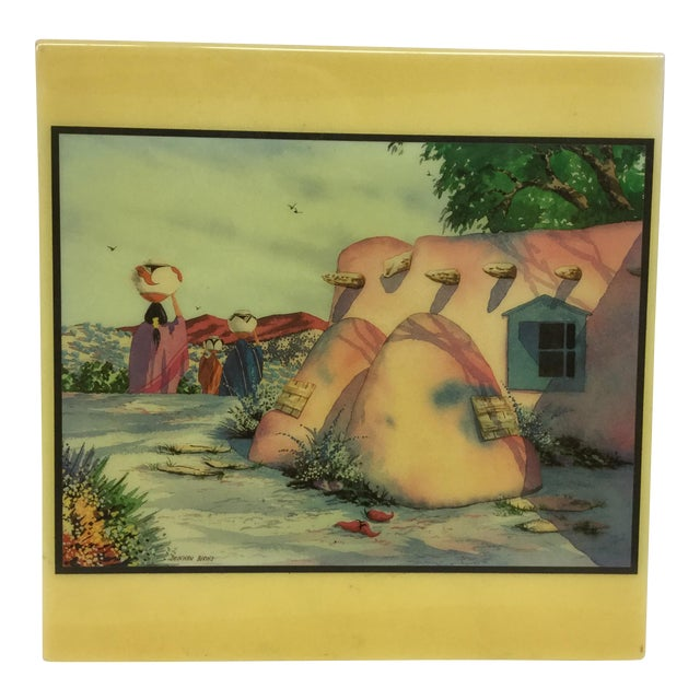 Doreman Burns Watercolor Hand Painted Tile - Image 1 of 9
