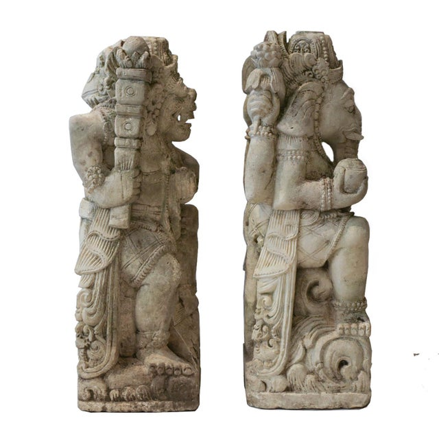 Antique Carved Sandstone Hindu Deities - A Pair - Image 4 of 7