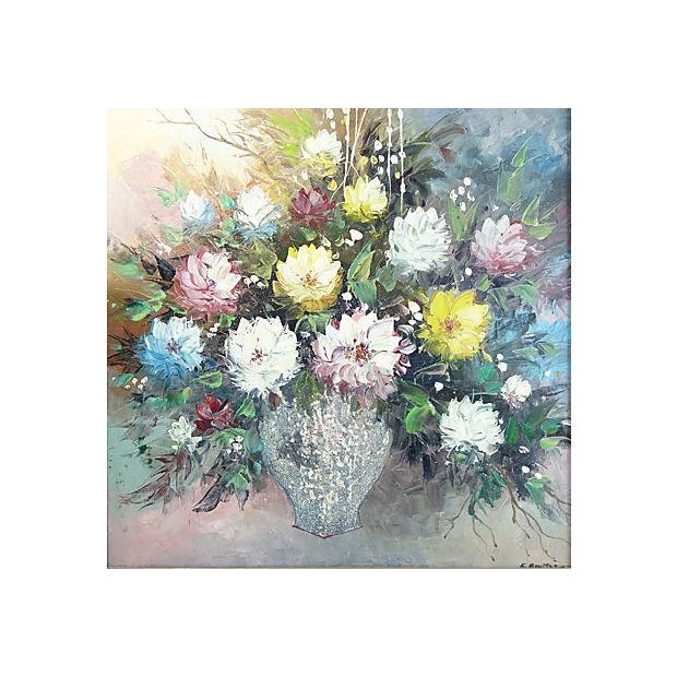 Image of Midcentury Floral Oil Still Life
