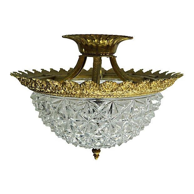 Image of Ceiling Flush Crystal Dome Lamp