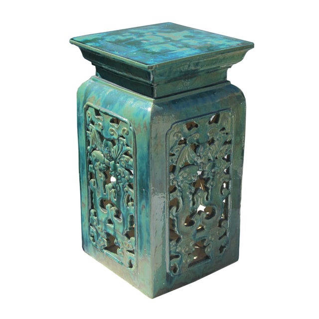Chinese Clay Turquoise Green Square Pedestal Stand - Image 1 of 6