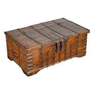 Oversize Anglo-Indian Teak & Iron Strapwork Trunk