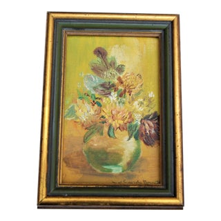 Vintage Yellow Zinnia Oil Painting