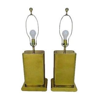 Modernist Brass Lamps - A Pair