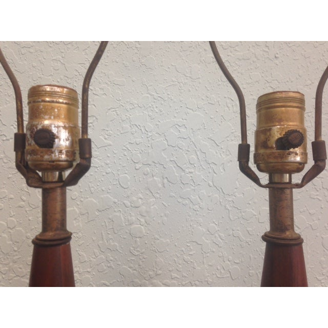 mid century wood candlestick table lamps a pair chairish. Black Bedroom Furniture Sets. Home Design Ideas