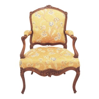 Louis XV Period Walnut and Upholstered Fauteuil