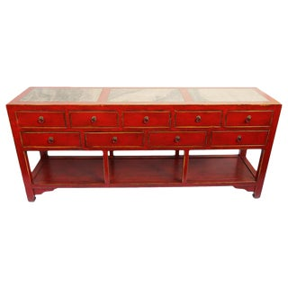 Red Lacquer & Marble Console Table