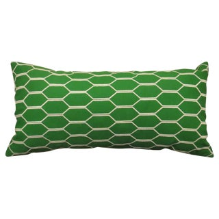 Geometric Green & White Throw Pillow