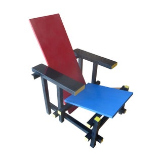 Modernist Rietveld Red & Blue Chair