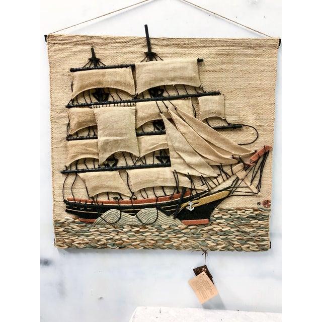 Don Freedman Macrame Wall Hanging of a Sailing Ship - Image 3 of 4