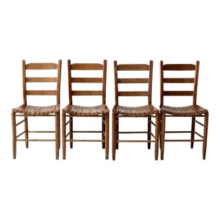 set/4 vintage slat wood dining chairs