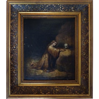 Antique Religious Saint With Skull Oil Painting in the Baroque Style of Cano