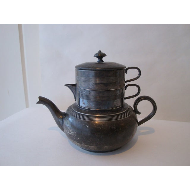 Image of Antique Stacking Tea Pot, Creamer and Cup Set