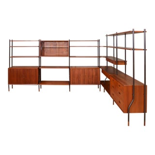 Six Section Teak Wall / Room Divider Unit by Lyby Mobler