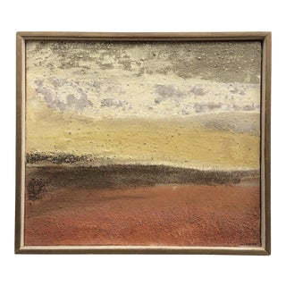 Mid-Century Mixed Medium Desert Painting