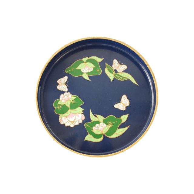 Vintage Blue Lacquered Lotus Flower Serving Tray - Image 1 of 6