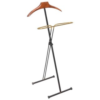 Mid-Century Modern French Wood & Brass Men's Valet Stand